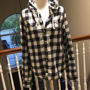 Hollister Button up lightweight jacket w/hood.